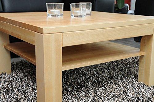 Holz-Projekt-Summer Couchtisch-Tisch mit Ablage Zarge bündig Ahorn/Echtholz/Massivholz/Höhe 42 cm (120x60)