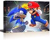 UETECH PicturesArtsCraftforHomeWallDecorGift Mario Bros Vs Sonic ArtworkforLivingRoomBedroom 36 x 24 Inch