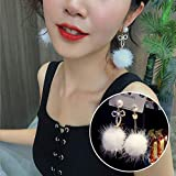 Chwewxi Pendientes de Bola de Pelo con Forma de Arco de Cristal con Aguja de Plata S Temperamento de Corea Pendientes Salvajes Pendientes, Blanco - Aguja de Plata