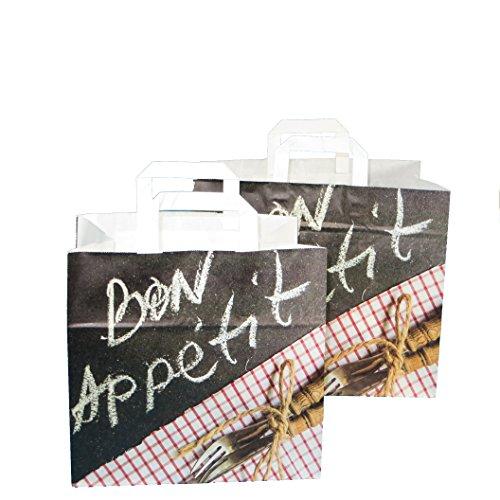 250 Papiertragetaschen Papiertüten Bon Appetit Fleischer Metzger Gastronomie Einkaufstüten Tragetaschen Papier 32+22x27cm