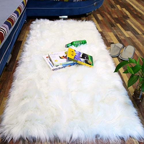 Luxury Premium 2 3x5ft Super Soft White Fuzzy Fur Rug for Bedroom Sheepskin Faux Fluffy Fur product image