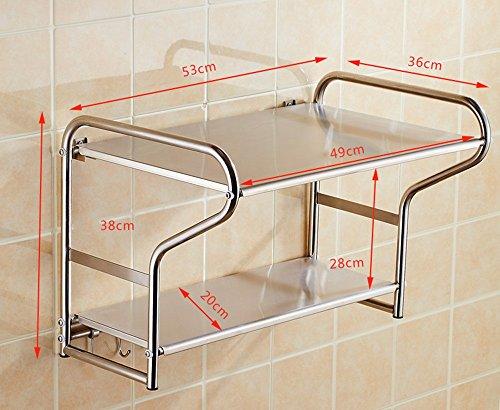 Dongyd 304 - Scaffale per forno a microonde, in acciaio INOX, da appendere alla parete, per 2 piani (colore: 53 telaio principale)