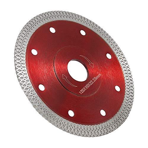 Disco Diamantato 125mm Sottile professionale Taglio a secco con taglio a umido per gres porcellanato, graniti, ceramica, quarzite, marmo (Rosso - 125mm)