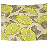 DANGCCI Tapestry 60x50 Inches Juicy Taste Colorful Citric Lemon Cut Food Drink Yellow Citrus Half Whole Delicious Dessert Diet Home Decor Wall Hanging Tapestries for Living Room Bedroom Dorm