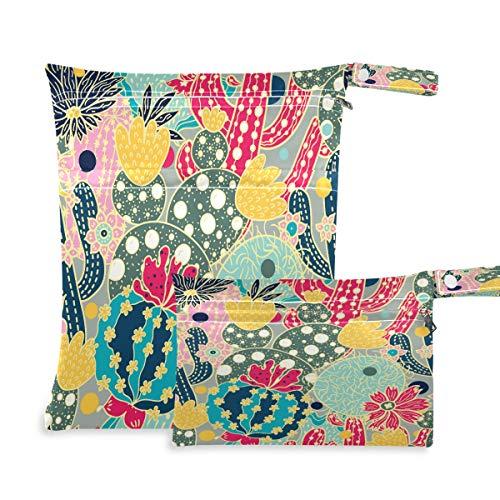 F17 - 2 bolsas húmedas para pañales de tela floral de cactus tropicales, impermeables, reutilizables para viajes, natación, playa, cochecito, ropa de gimnasio sucio