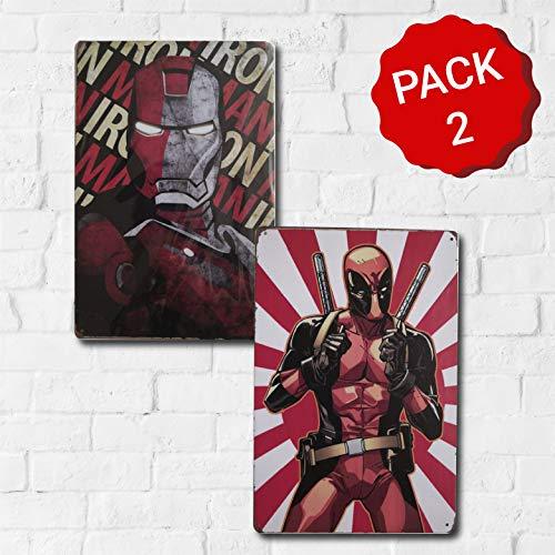 MARQUISE & LOREAN | Placas Decorativas Pared Marvel Deadpool | Ironman | Thor | Decoración Carteles Vintage Metálicos MIRA (Pack Deadpool + Ironman, 20 x 30 cm)