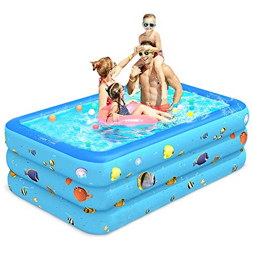 """Luxby Inflatable Pool, Kiddie Pool Inflatable, Blow-up Pool, Swimming Pools for Kids and Adults, Family, Toddler Kids, Garden, Outdoor, Backyard, Indoor, 71"""" 55"""" 24"""""""