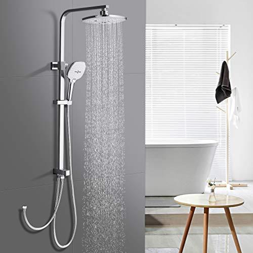 WOOHSE Duschsystem Edelstahl mit Regendusche ABS Duschsäule ohne Armatur Duscharmatur Brauseset mit Duschkopf und Handbrause mit 3-Funktionen Duschset Höhenverstellbar Duschstange für Bad