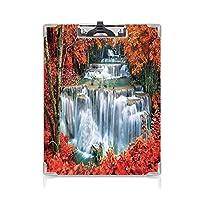 3 dパターンの クリップボード アルファベット 滝の装飾 答案用紙入れ 植物の秋の木々に隠された森の階段のような滝オレンジ赤と白