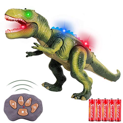 FiGoal Remote Control Dinosaur with LED Lights, Walking, and Roaring Sound, T-Rex Dinosaur Toy with LED Light Up for Kids and Toddlers 3 to 12 Years Old Boys and Girls (Green 1)