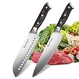 Couteaux de Cuisine Couteau Chef 20 cm et Couteau Santoku 18 cm avec poignée Ergonomique, Lame Extra-Forte Anti-Corrosion et Anti-ternissement