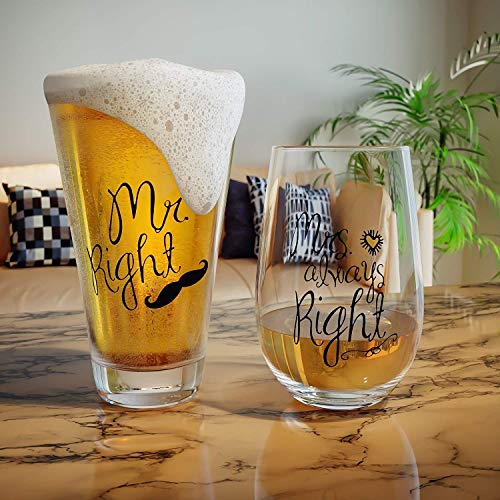 Mr. Right and Mrs. Always Right Wine Glass, Beer Glass Combo, Funny Wedding, Anniversary, Engagement Gift for Couples, Her and Him by Momstir
