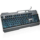 KLIM Lightning – NEU 2020 – Hybrid Halbmechanische Tastatur QWERTZ DEUTSCH + Sieben Metallstruktur – Gamer Gaming-Tastatur für Videospiele PC PS4 Xbox One