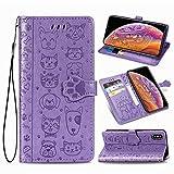 Oihxse Billetera Cuero Funda Compatible con Samsung Galaxy S20 PU Libro Tapa Flip Soporte Plegable Protector Magnético Carcasa Gato Perro Lindo Animal Diseño Wallet Case-Púrpura