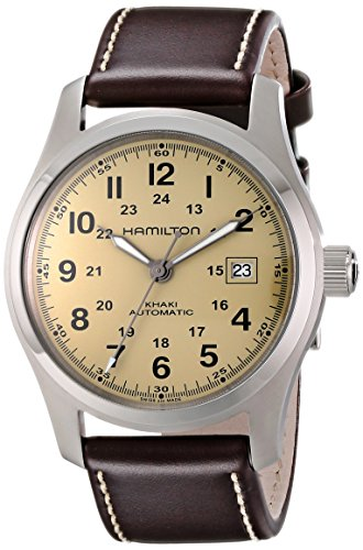 Hamilton Men's H70555523 'Khaki Field' Stainless Steel Watch with Brown Leather Band