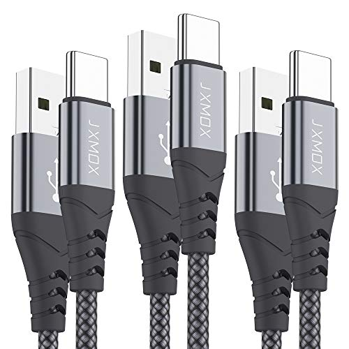 USB C Short Cable,JXMOX(3-Pack 1ft) USB A to Type C Charger Nylon Braided 3A Quick Charge Cord Compatible with Samsung Galaxy S20 S10 S9 S8 Plus,Note 9 8,LG V35 V30 G8,Moto Z,Google,Other USB C(Grey)