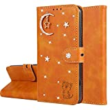 Miagon Diamond Wallet Case for Samsung Galaxy S9,3D Moon Star Cat Design PU Leather Flip Magnetic Closure Card Slots Stand Shockproof Full Protective Cover,Orange