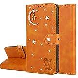 Miagon Diamant Brieftasche Hülle für Huawei P20 Lite,Mond Star Katze 3D Design PU Leder Flip Handyhülle Klapphülle Klappbar Silikon Bumper Schutzhülle,Orange