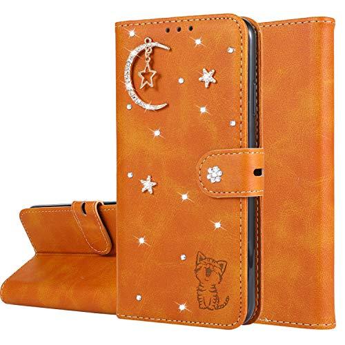 Miagon Diamant Brieftasche Hülle für OnePlus 7,Mond Star Katze 3D Design PU Leder Flip Handyhülle Klapphülle Klappbar Silikon Bumper Schutzhülle,Orange