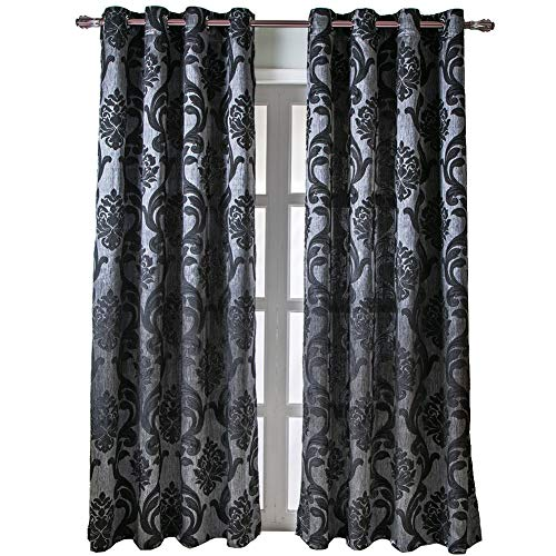 NAPEARL European Style Jacquard Curtains for Living Room, Luxurious Room Darkening Curtains 84 Inches Long, Grommet Thermal Curtains Drapes, Set of 2 Panels, ( Each 52 x 84 in, Black )