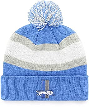 Detroit Lions Blue Cuff Breakaway Beanie Hat with Pom - NFL Vintage Cuffed Winter Knit Toque Cap