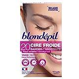 Blondepil HAUTE PERFORMANCE - 20 Bandes Cire Froide pour Visage + 4 Lingettes Post Epilation
