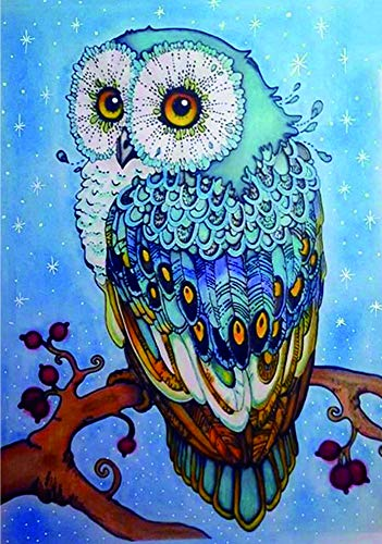 Owl 5D Diamond Painting by Number Kit for Adult, Sunflowers Full Drill Crystal Rhinestone Embroidery Cross Stitch Diamond Embroidery Dotz Kit Home Wall