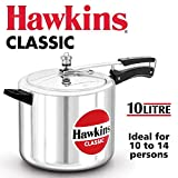 Hawkins Classic Aluminum Pressure Cooker, 10-Liter, Silver