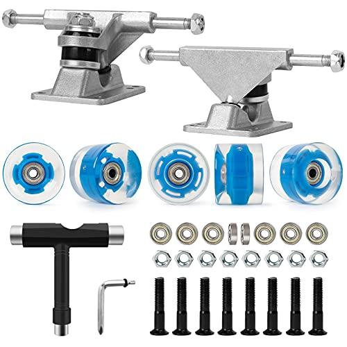 Nattork Skateboard Bearings,60mm Skateboard Wheels,Skateboard Trucks,Skateboard Screws, All-in-One Skate T-Tool,Skateboard Grip Tape Combo Set
