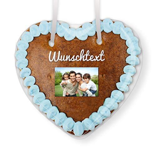 Lebkuchenherzen mit Wunschtext und Foto individuell gestalten | Farbe: Blau | schnell & einfach Ihr Wunschmotiv hochladen | persönliches Geschenk für jeden Anlass | LEBKUCHEN-WELT