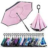 ZOMAKE Parapluie Inversé,Parapluie Canne,Double Couche Coupe-Vent, Mains Libres poignée en Forme C, Idéal pour Voiture et Voyage (Rose)