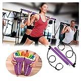 Pilates Bar Kit con el Yoga Calcetines elásticos Home Trainer Gym Workout Yoga Ejercicio Ligero portátil,Pilates Bar-Purple Yoga Socks