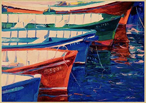 H/E Cartel De Arte De Paisaje De Jardín Mediterráneo Abstracto Pintura Al Óleo Decoración De Café En Casa Mural Sin Marco50X60Cm G1228