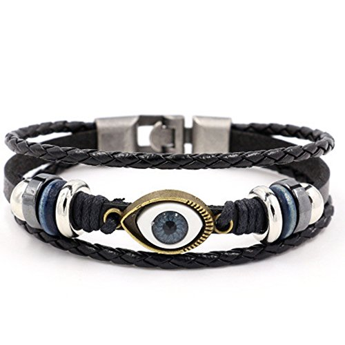 SUNSIN Unisex Angel Eyes Leather Wrap Bracelet Multilayer Ring Woven Buckle Stainless Steel Bracelet