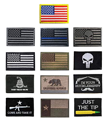 Antrix 13 Pieces Great Value Tactical US Flag Patch America Punisher Morale Patch Full Embroidery Military Patch Set for Caps,Bags,Backpacks,Clothes,Tactical Vest,Military Uniforms Etc.