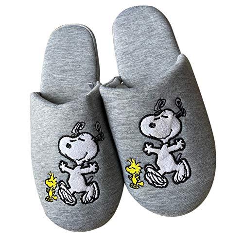 Erdnüsse Snoopy Frauen Hausschuhe, Stickerei Druck weichen Fuß Polsterung grau Indoor Slip-On (EU 36/37, Numeric_36)