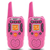 Eoncore T358 Walkie Talkies for Kids Two Ways Radio Toy Long Range 22 Channels 10 Call Tone Build-in Flashlight Pink