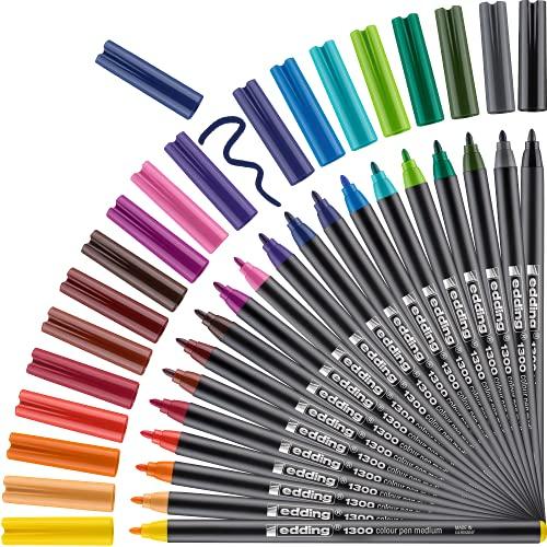 Edding 4-1300-20 - Estuche de metal con 20 rotuladores, Multicolor, 2 mm