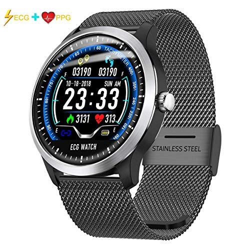 KKMRSL Smart Watch,Fitness Uhr EKG & Herzfrequenzanzeige Schlafmonitor 3D UI Fitness Tracker Stahlband Armband Smart Watch Geeignet