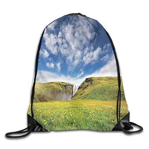 Bolsa con cordón para gimnasio, estilo cascada, paisaje con margaritas en el...
