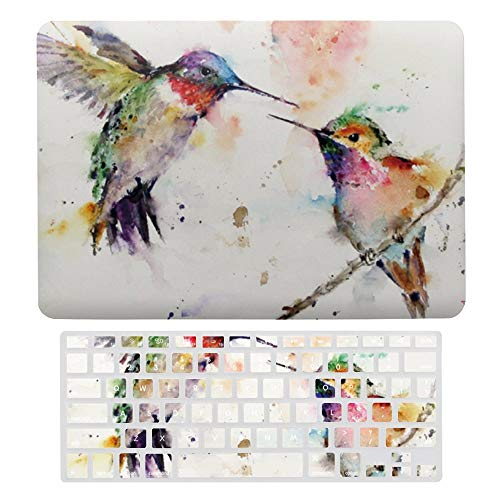 Macbook Air 13 Inch Case(A1369 & A1466, Older Version 2010 2017 Release), Plastic Hard Protective Laptop Case Shell With Keyboard Cover, Colorful Spring Happy Hummingbird
