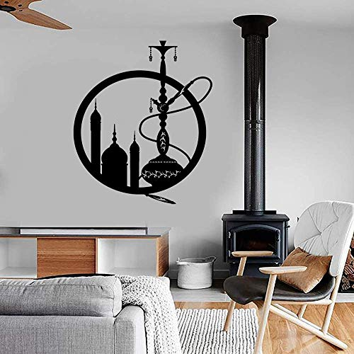 Wandaufkleber Eastern City Shisha Shisha Rauchen Unkraut Aufkleber Wandbild Kunst Cafe Bar Lounge Dekoration Selbstklebende Tapete Grau 57X71 Cm