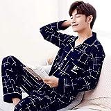 CIDCIJN Pijama Hombre Mangas Largas Set,Moda Casual Striped Cotton Pajama Sets For Men Short Sleeve Long Pants Sleepwear Pyjama Male Homewear Clothes,Gray,3XL