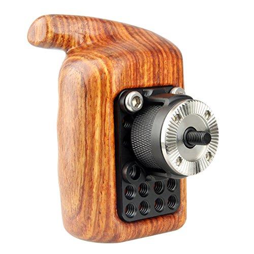 NICEYRIG 木製ハンドルグリップ カメラケージハンドル 汎用 左手用 ウッドグリップ ARRIロゼット付き ARRIロゼットマウント DSLRカメラケージ用 Camera Wooden Handle -149