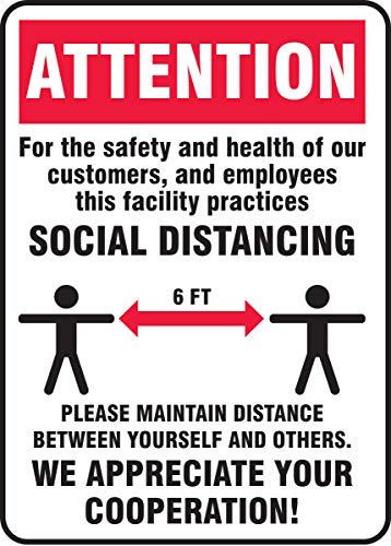 Accuform Safety Sign'Attention Visitors - Help Keep The CORONAVIRUS (COVID-19) Out of Our Facility - Stop - DO NOT Visit IF You are Sick OR Have Symptoms', Plastic, 7' x 10', MGNG904VP