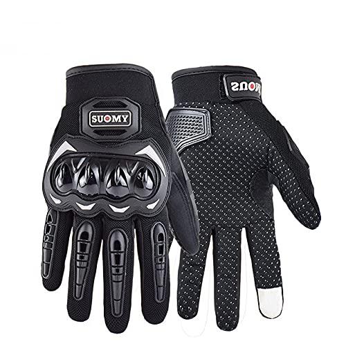 Guante de Motocross con Pantalla táctil de Verano, Guante de Motocross Transpirable de Malla de Dedo Completo, Guantes de Moto MTB para Dirt Bike-SU33-Black-1-L
