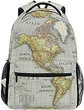 BaofuWorld Map Backpack Kids Laptop Bookbag for Travel Middle School Students