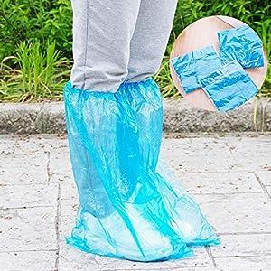 AISE 5 Pares de Fundas Desechables Cubrezapatos de Lluvia Impermeables de plástico Cubre Zapatos Protectores de Lluvia Larga Cubrezapatos Antideslizantes para Adultos, Azul