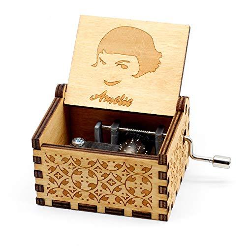 GSHGS Miniatura Cajas De Musica De Madera Cajas De Musica Vintage Artesanías De Música con Manivela Regalo De Niños Adultos Decoración del Hogar Artesanía 0D