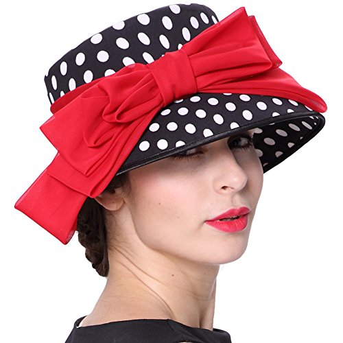 June's Young Women Church Hats Formal Dress Hat Elegant Chiffon Bucket Hat Red Bow Polka Dot